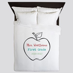 Colorized Custom Teachers Apple Queen Duvet