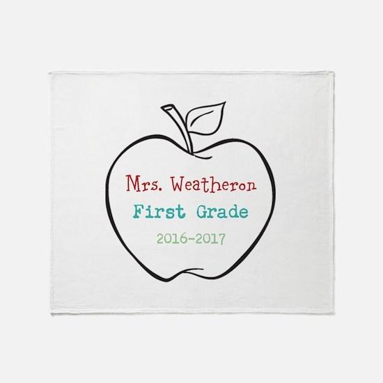 Colorized Custom Teachers Apple Throw Blanket