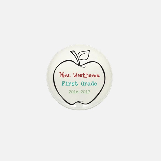 Colorized Custom Teachers Apple Mini Button