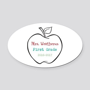 Colorized Custom Teachers Apple Oval Car Magnet