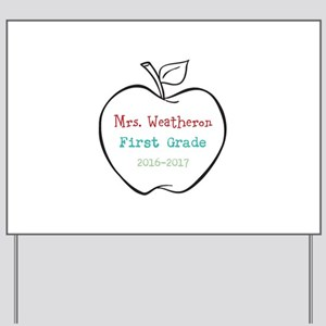 Colorized Custom Teachers Apple Yard Sign