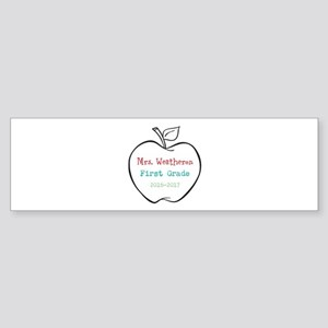 Colorized Custom Teachers Apple Bumper Sticker