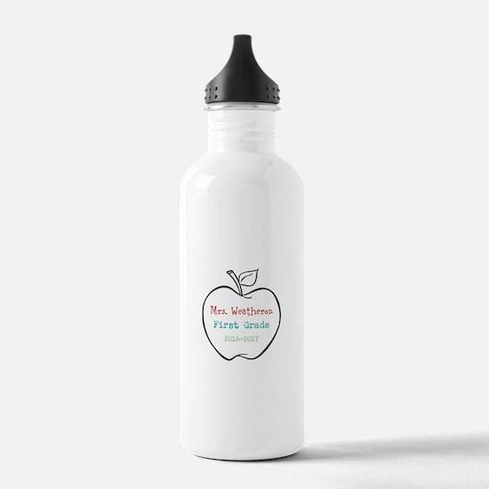 Colorized Custom Teachers Apple Water Bottle