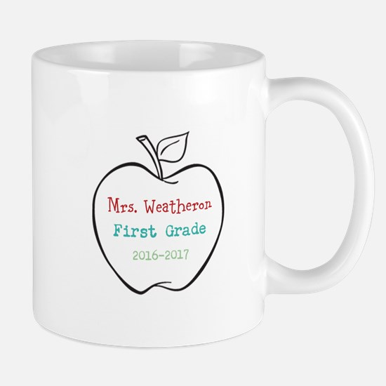 Colorized Custom Teachers Apple Mugs