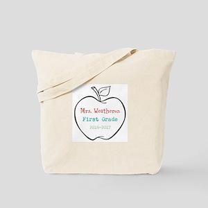 Colorized Custom Teachers Apple Tote Bag