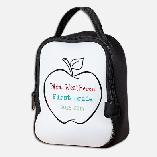 Colorized Custom Teachers Apple Neoprene Lunch Bag