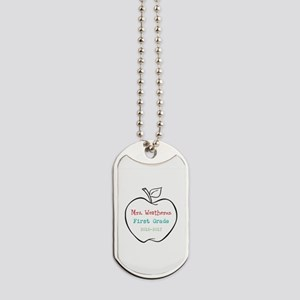 Colorized Custom Teachers Apple Dog Tags
