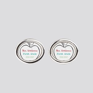 Colorized Custom Teachers Apple Oval Cufflinks