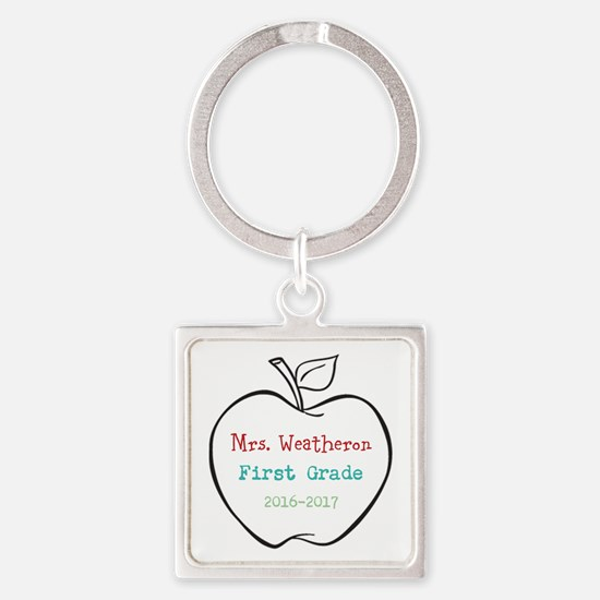 Colorized Custom Teachers Apple Keychains