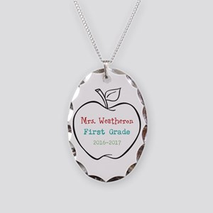 Colorized Custom Teachers Apple Necklace