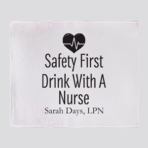 Drink with a Nurse Personalized Throw Blanket