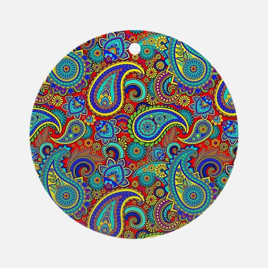 Colorful Retro Paisley Pattern Round Ornament