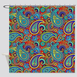 Colorful Retro Paisley Pattern Shower Curtain