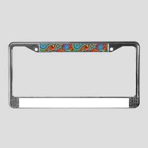 Colorful Retro Paisley Pattern License Plate Frame