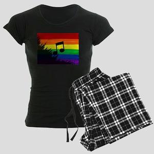 Musical note gay rainbow art Women's Dark Pajamas