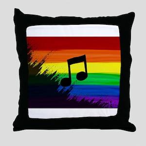 Musical note gay rainbow art Throw Pillow
