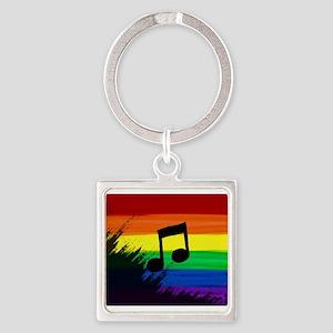 Musical note gay rainbow art Keychains