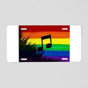 Musical note gay rainbow ar Aluminum License Plate