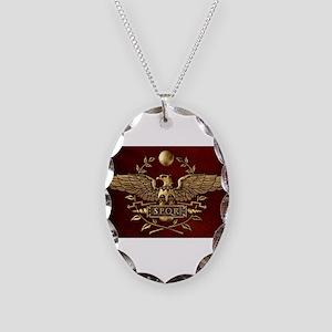 Roman Eagle Necklace Oval Charm