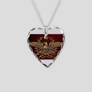 Roman Eagle Necklace Heart Charm
