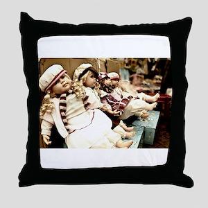 Waiting dolls Throw Pillow