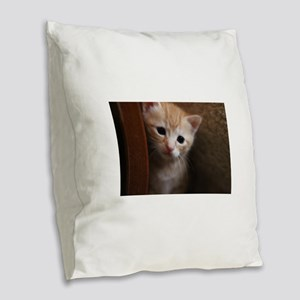 Kitten peaking Burlap Throw Pillow