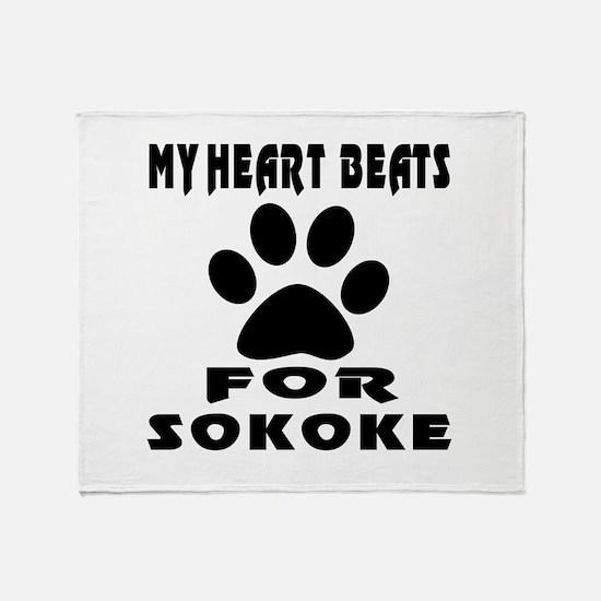 My Heart Beats For Sokoke Cat Throw Blanket