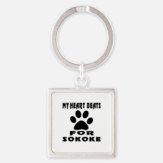 My Heart Beats For Sokoke Cat Square Keychain