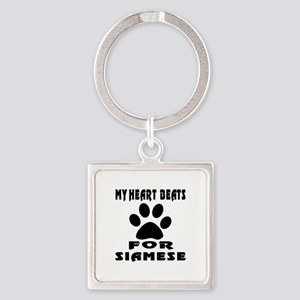My Heart Beats For Siamese Cat Square Keychain