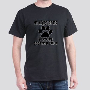 My Heart Beats For Scottish Fold Cat Dark T-Shirt