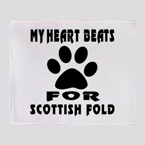 My Heart Beats For Scottish Fold Cat Throw Blanket