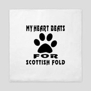 My Heart Beats For Scottish Fold Cat Queen Duvet