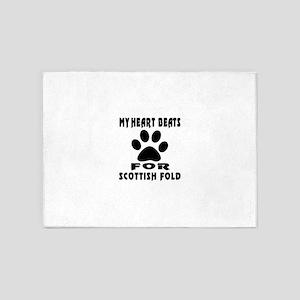 My Heart Beats For Scottish Fold Ca 5'x7'Area Rug