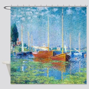 Monet Boats at Argenteuil Shower Curtain