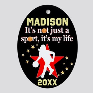 Basketball Girl Oval Ornament
