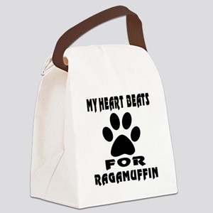 My Heart Beats For Ragamuffin Cat Canvas Lunch Bag