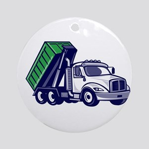 Roll-Off Truck Bin Truck Cartoon Round Ornament