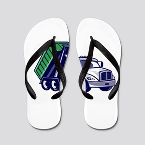 Roll-Off Truck Bin Truck Cartoon Flip Flops