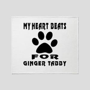My Heart Beats For Ginger tabby Cat Throw Blanket