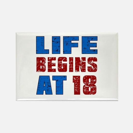 Life Begins At 18 Rectangle Magnet