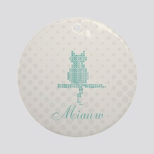 Cute Funny Mint Cat Round Ornament