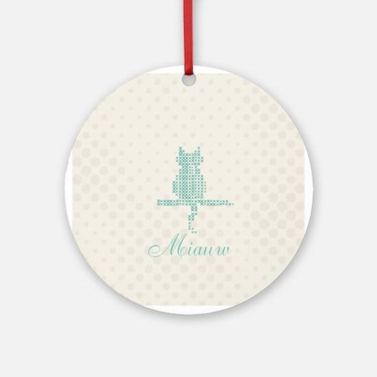 Cute Funny Mint Cat Round Ornament