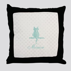 Cute Funny Mint Cat Throw Pillow