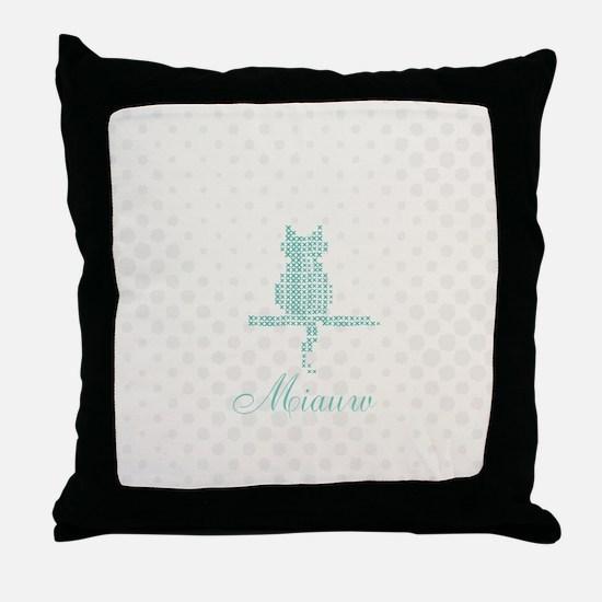 Cute Funny Mint Cat Throw Pillow