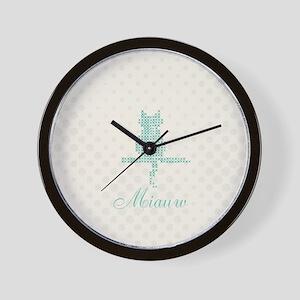 Cute Funny Mint Cat Wall Clock