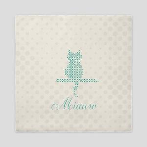 Cute Funny Mint Cat Queen Duvet