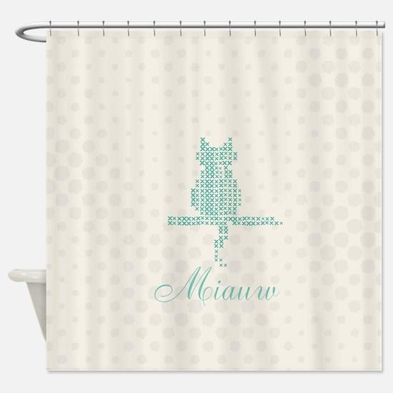 Cute Funny Mint Cat Shower Curtain