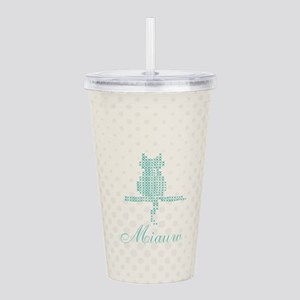 Cute Funny Mint Cat Acrylic Double-wall Tumbler