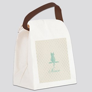 Cute Funny Mint Cat Canvas Lunch Bag