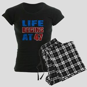 Life Begins At 47 Women's Dark Pajamas